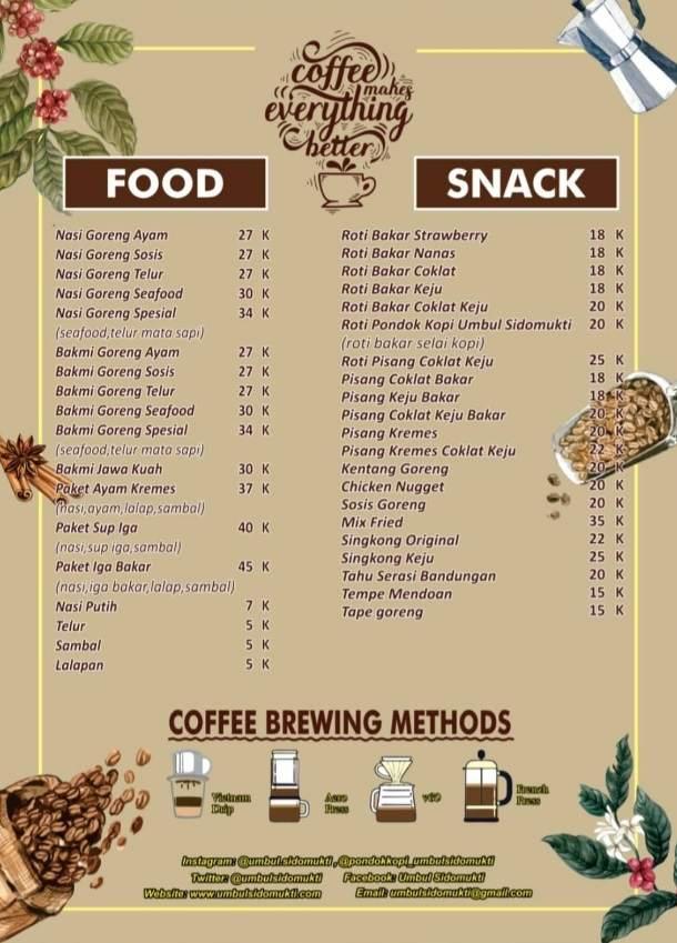 daftar menu makanan pondok kopi bandungan